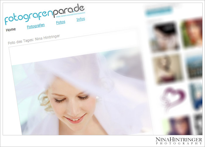 Again featured online - Photo of the Day - fotografenpara.de - Blog of Nina Hintringer Photography - Wedding Photography, Wedding Reportage and Destination Weddings