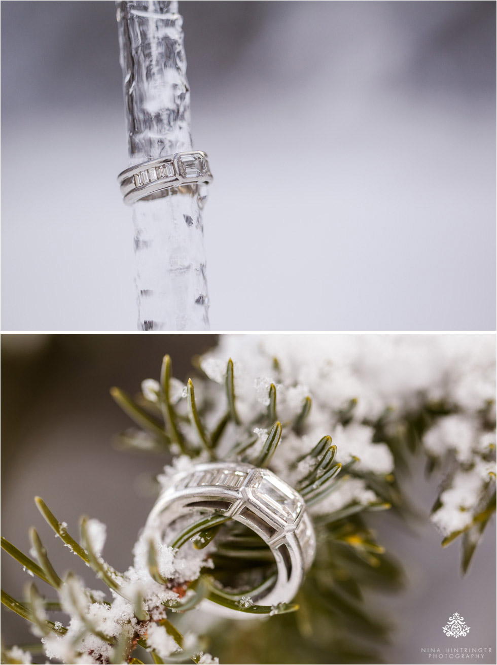 beautiful engagement ring in a winter wonderland at the Verwalltal near st. anton am arlberg - Blog of Nina Hintringer Photography - Wedding Photography, Wedding Reportage and Destination Weddings
