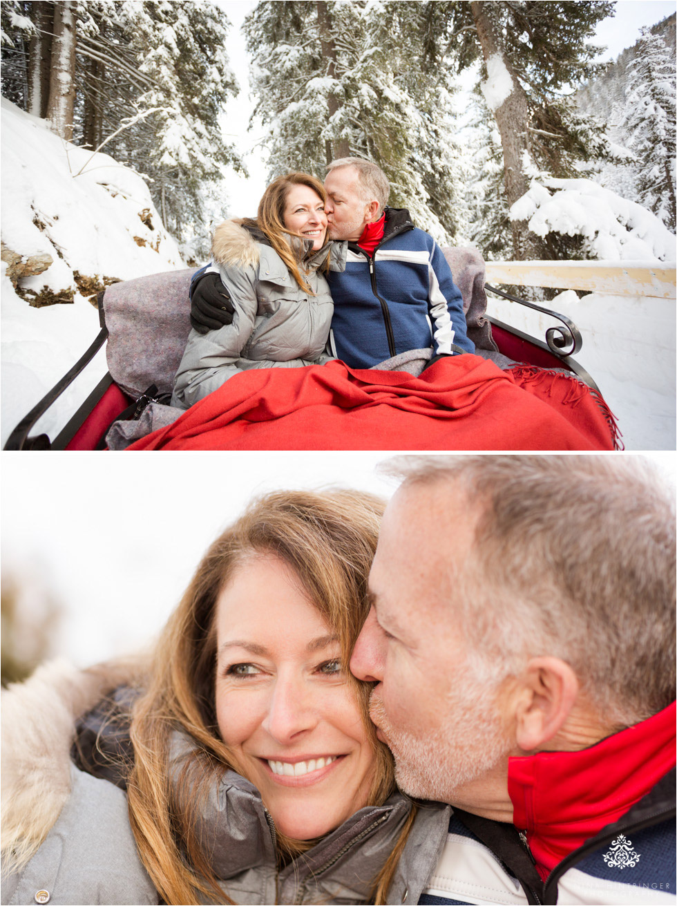 cute couple kissing on a sleigh ride in st. anton am arlberg - Blog of Nina Hintringer Photography - Wedding Photography, Wedding Reportage and Destination Weddings