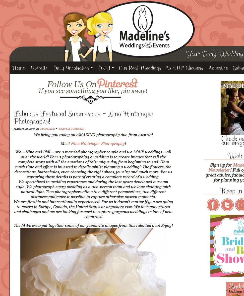 Featured online | Madelines Weddings & Events - Blog of Nina Hintringer Photography - Wedding Photography, Wedding Reportage and Destination Weddings