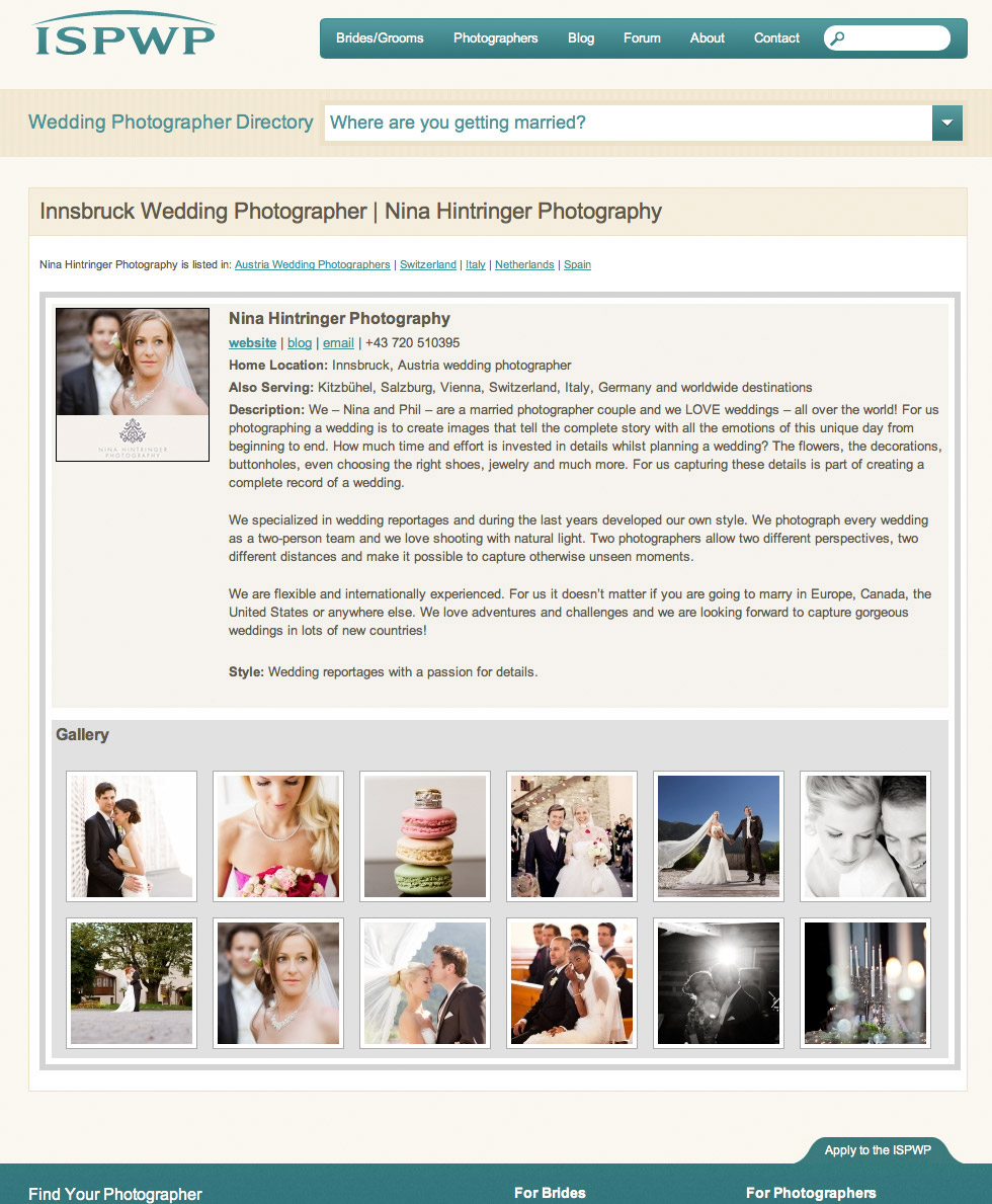 We are part of ISPWP - International Society of Professional Wedding Photographers - Blog of Nina Hintringer Photography - Wedding Photography, Wedding Reportage and Destination Weddings