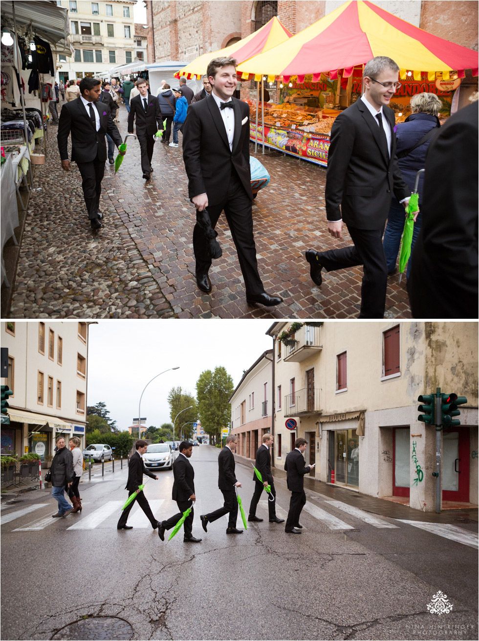 Groom and groomsmen walking to church, SS. Trinita in Bassano where several family members have also gotten married - Blog of Nina Hintringer Photography - Wedding Photography, Wedding Reportage and Destination Weddings
