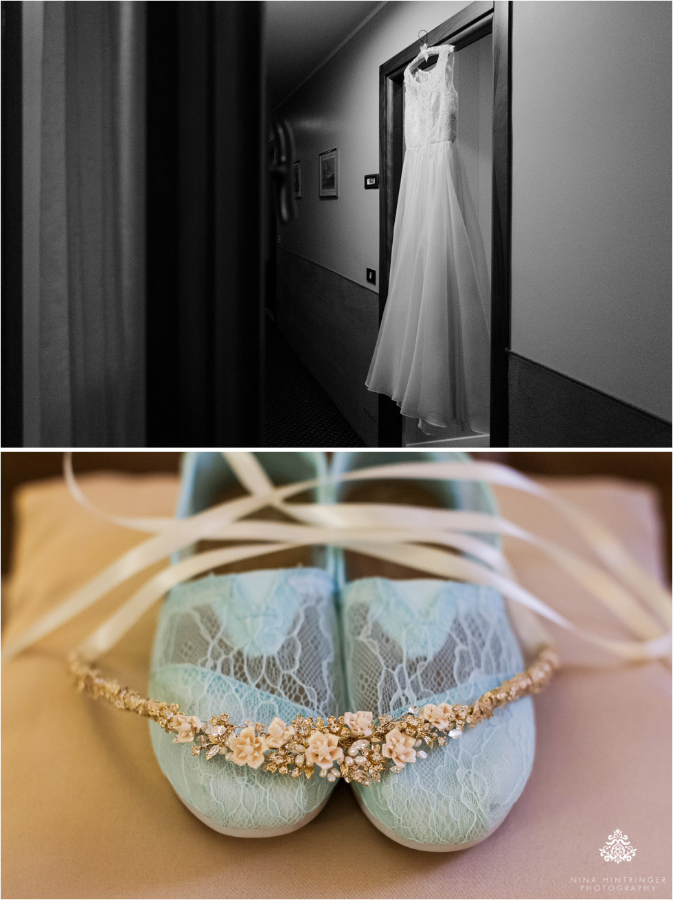 Wedding dress, shoes and jewellery of the bride during getting ready on her wedding day in Bassano del Grappa in Italy - Blog of Nina Hintringer Photography - Wedding Photography, Wedding Reportage and Destination Weddings
