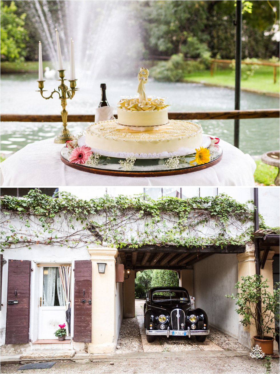Wedding cake and bridal car at Villa Damiani in Bassano del Grappa, Italy - Blog of Nina Hintringer Photography - Wedding Photography, Wedding Reportage and Destination Weddings