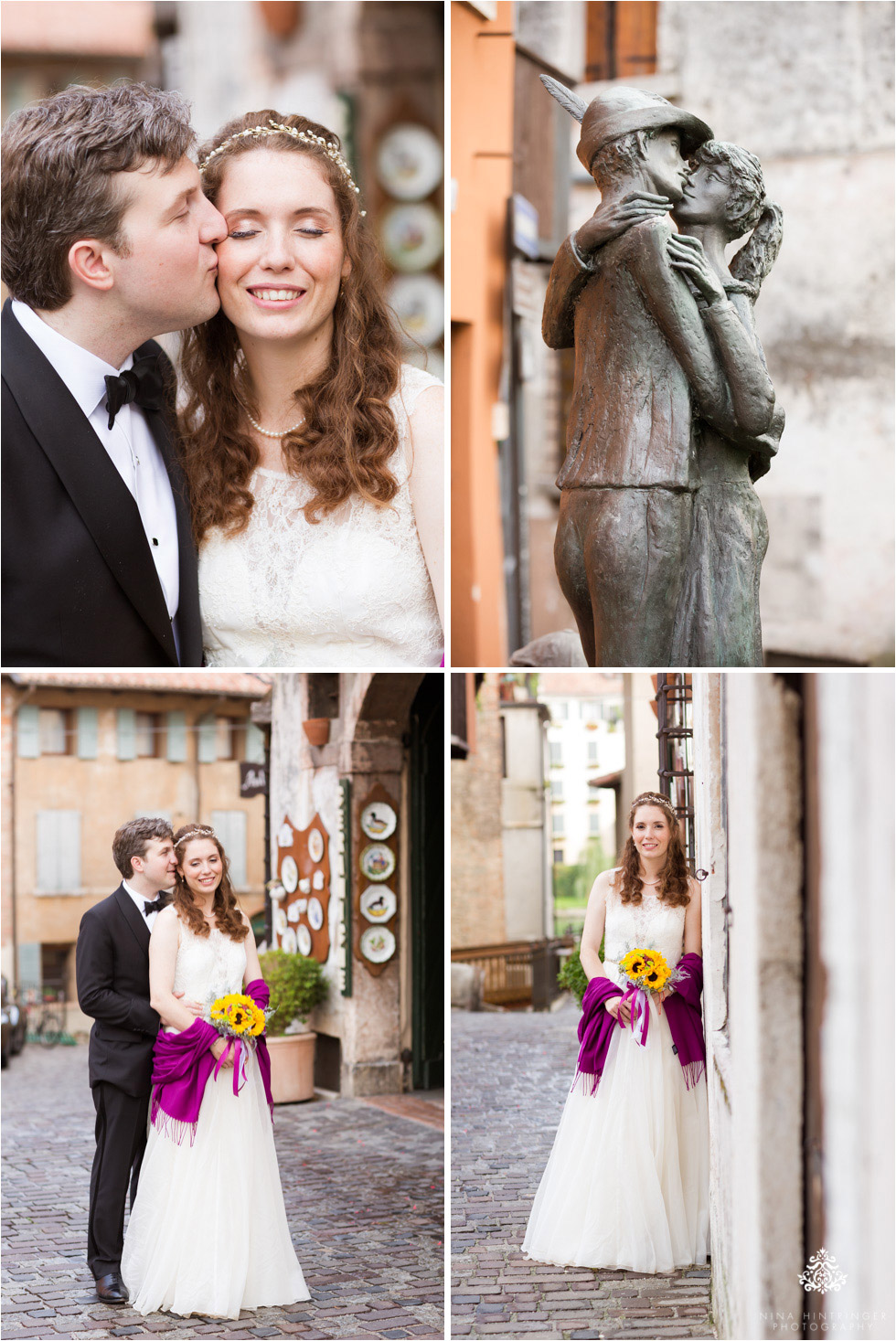 Wedding couple portraits in a beautiful historic town,  Bassano del Grappa, Italy - Blog of Nina Hintringer Photography - Wedding Photography, Wedding Reportage and Destination Weddings