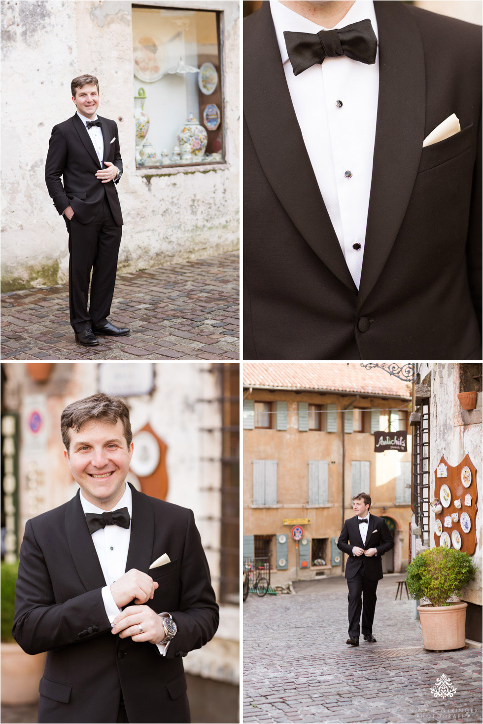 Groom portraits in the city center of Bassano del Grappa, Italy - Blog of Nina Hintringer Photography - Wedding Photography, Wedding Reportage and Destination Weddings