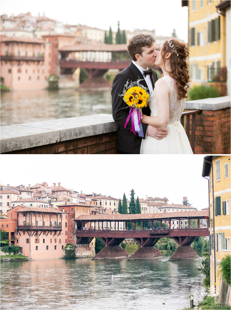 Wedding couple and Ponte Vecchio in Bassano del Grappa, Italy - Blog of Nina Hintringer Photography - Wedding Photography, Wedding Reportage and Destination Weddings