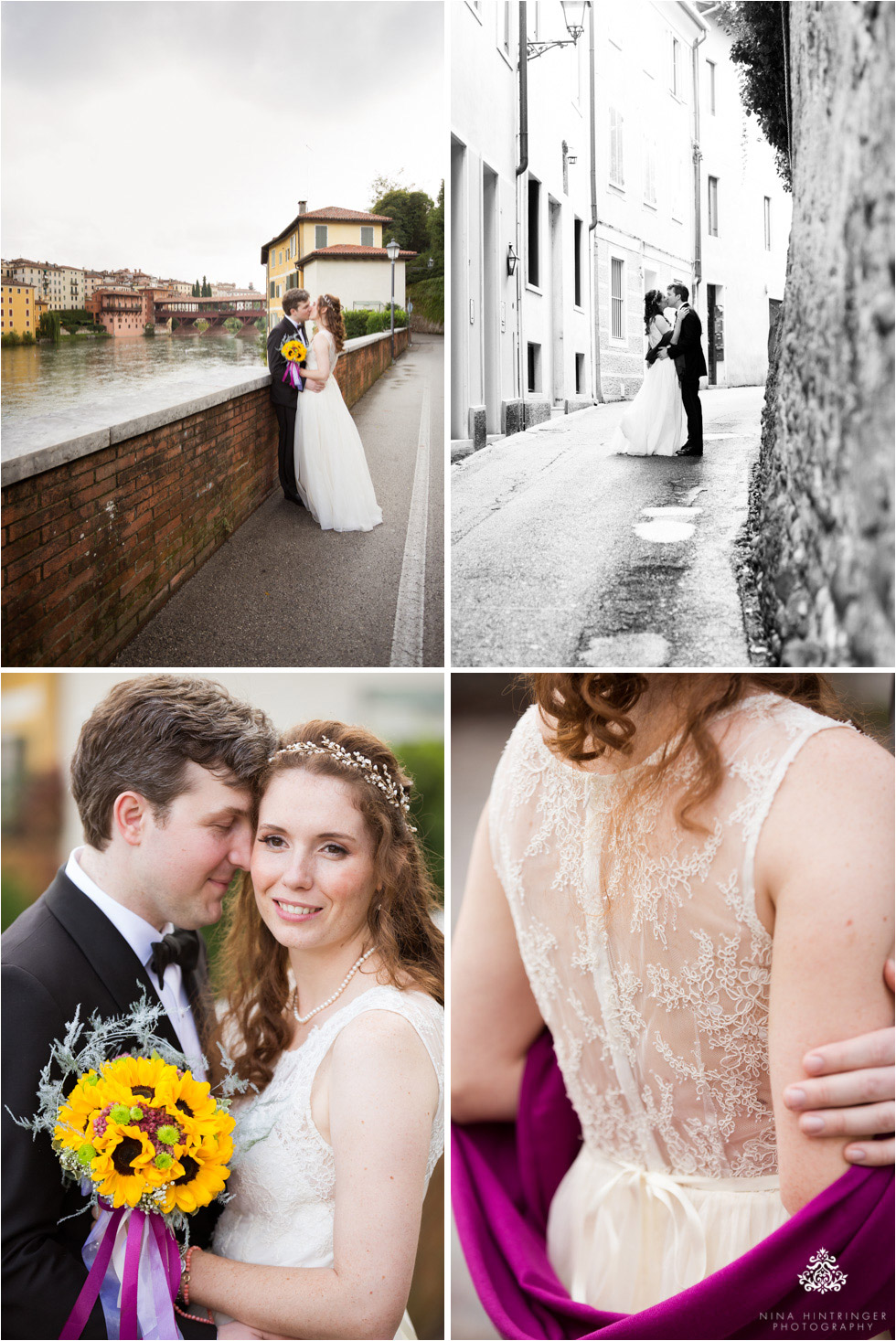 Wedding portraits in front of the Ponte Vecchio in Bassano del Grappa, Italy - Blog of Nina Hintringer Photography - Wedding Photography, Wedding Reportage and Destination Weddings