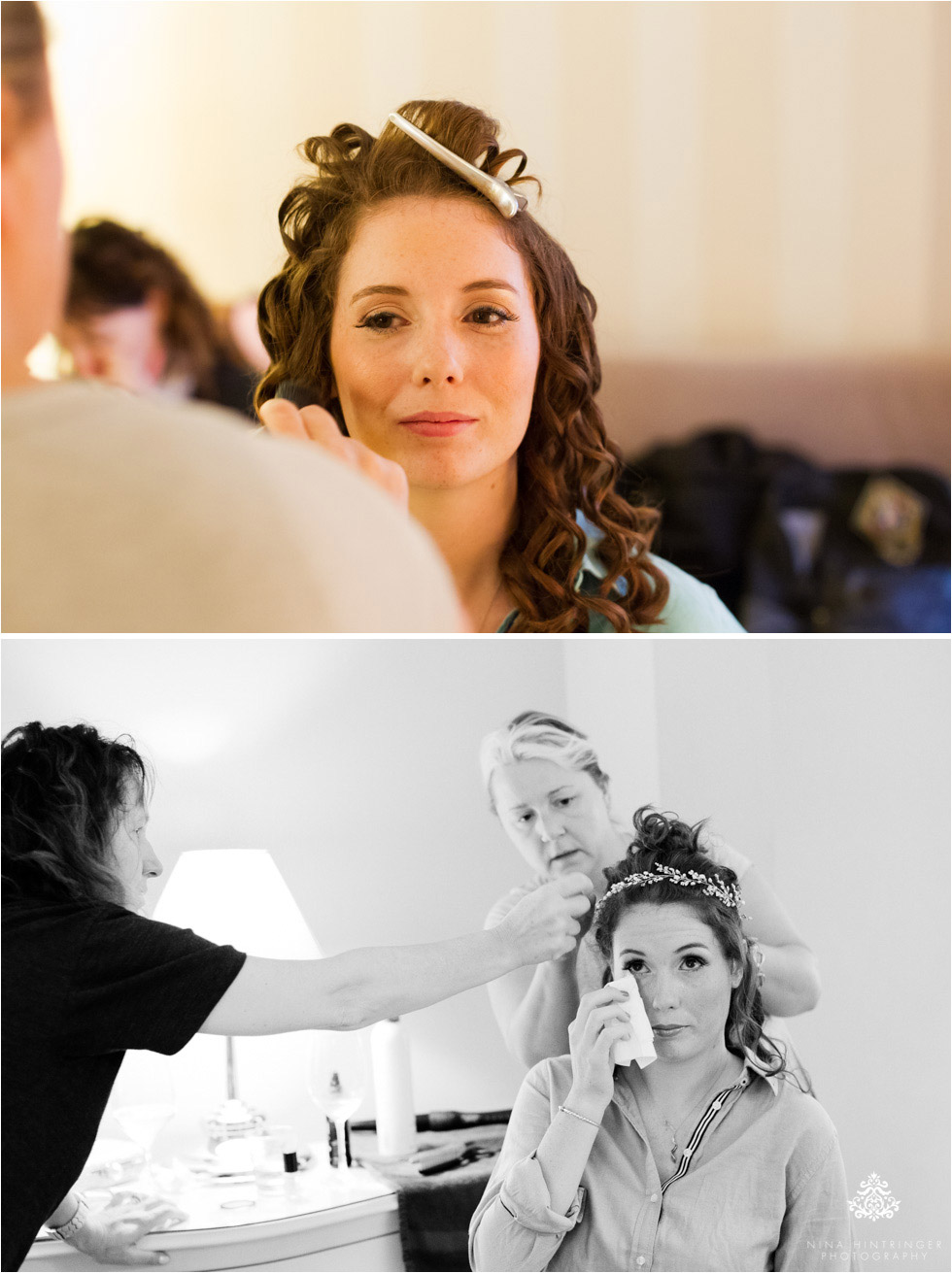 Bride getting hair and make-up done on her wedding day in Italy, Bassano del Grappa - Blog of Nina Hintringer Photography - Wedding Photography, Wedding Reportage and Destination Weddings