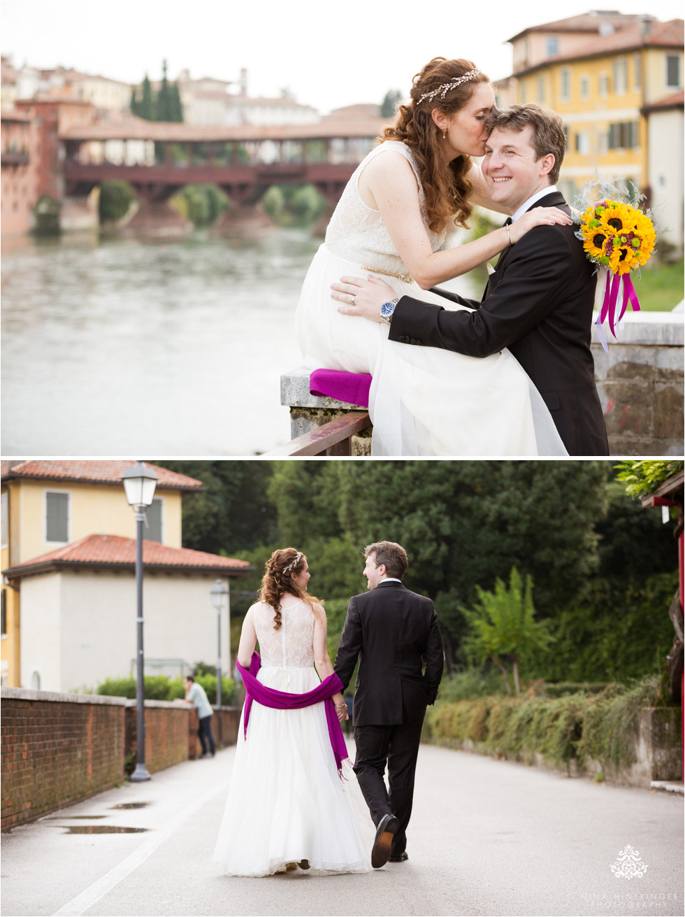 Bride and groom in front of the Ponte Vecchio in Bassano del Grappa, Italy - Blog of Nina Hintringer Photography - Wedding Photography, Wedding Reportage and Destination Weddings