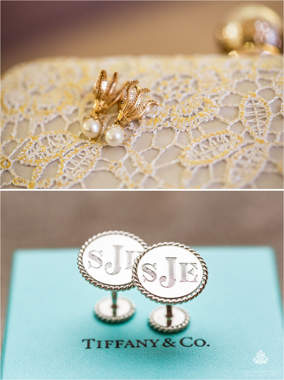 Detail shots of earrings and cufflinks - Blog of Nina Hintringer Photography - Wedding Photography, Wedding Reportage and Destination Weddings